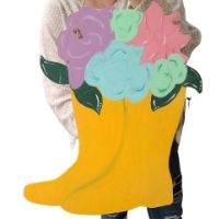 Spring Flowers in Boots Door Hanger
