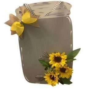 Sunflower Mason Jar Door Hanger