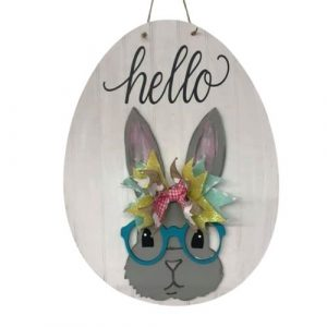 Bunny With Glasses Wall/Door Hanger